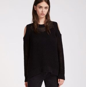 ALLSAINTS XS open knit cold shoulder sweater